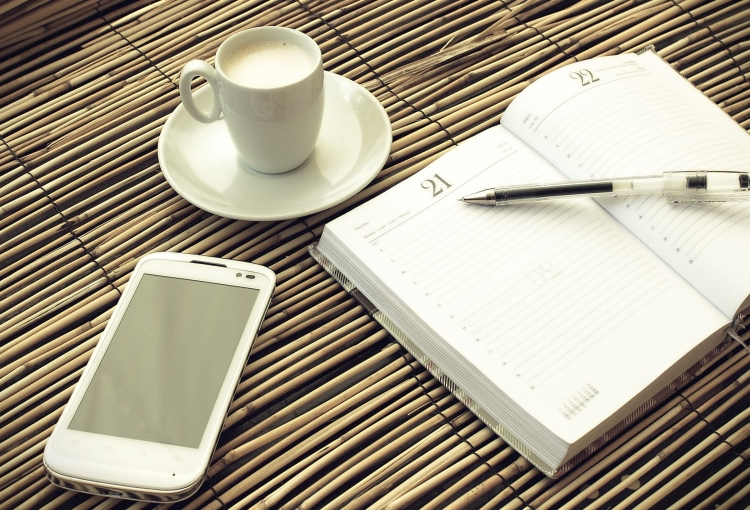 Morning coffee - Mock up set of smartphone with notebook and cup
